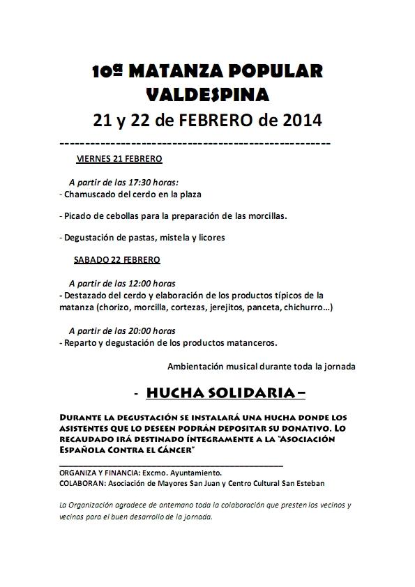 10ª MATANZA POPULAR DE VALDESPINA 2014