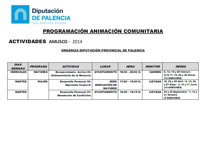 ACTIVIDADES AMUSCO 2014